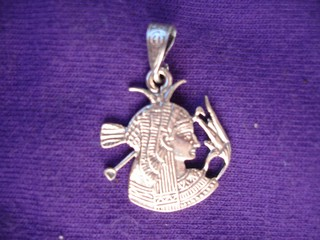 Isis with Lotus Blossom Pendant Amulet in silver   from Egypt