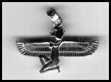 Kneeling Isis pendant with wings straight out, flat with arm.